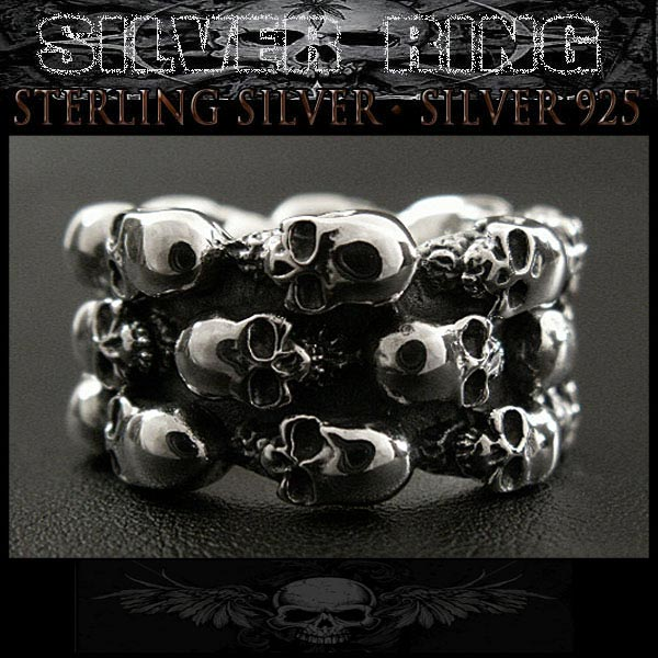 シルバーリング 指輪 シルバー925 髑髏 スカル STERLING SILVER RING Silver925 skull WILD HEARTS Leather&Silver (ID sr0776r61)