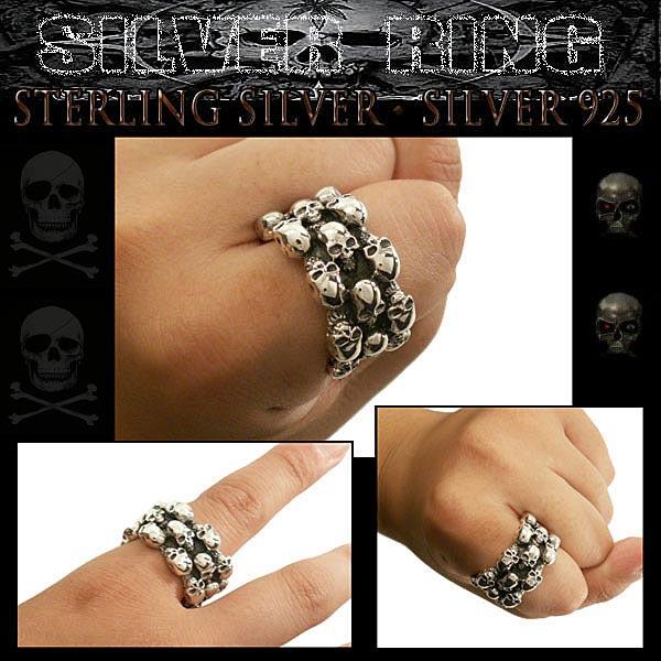 Silver Skulls Ring/Skulls men's band Ring   WILD HEARTS Leather&Silver (ID sr0776r61)