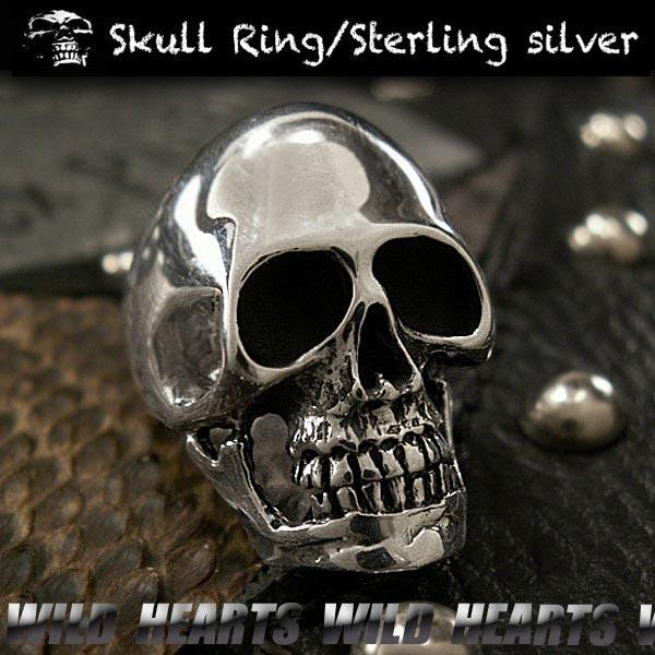 シルバーリング/シルバー925/シルバーアクセサリー/指輪/ドクロ/スカル/Sterling silver Ring/Skull/WILD HEARTS Leather&Silver (ID trs0193)
