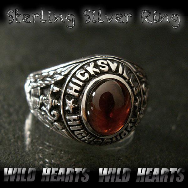 カレッジリング シルバー925 ガーネット シルバーアクセサリー Class Ring championship ring Garnet Sterling silver Ring WILD HEARTS Leather&Silver (ID trg0016)