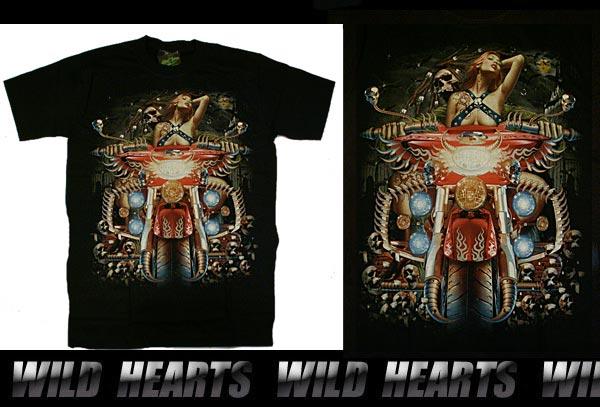 T-shirts/Skull/cotton/Biker T-shirts WILD HEARTS Leather&Silver (ID ts0832r7)
