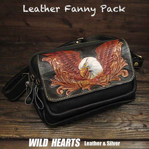 ヒップバッグ ファニーパック バイカーツーリング用バッグ 牛革 本革 イーグル カービング Carved Leather Fanny Pack Waist Bag Hip bag Belt Pouch Eagle motif WILD HEARTS Leather&Silver (ID wb3358r81)