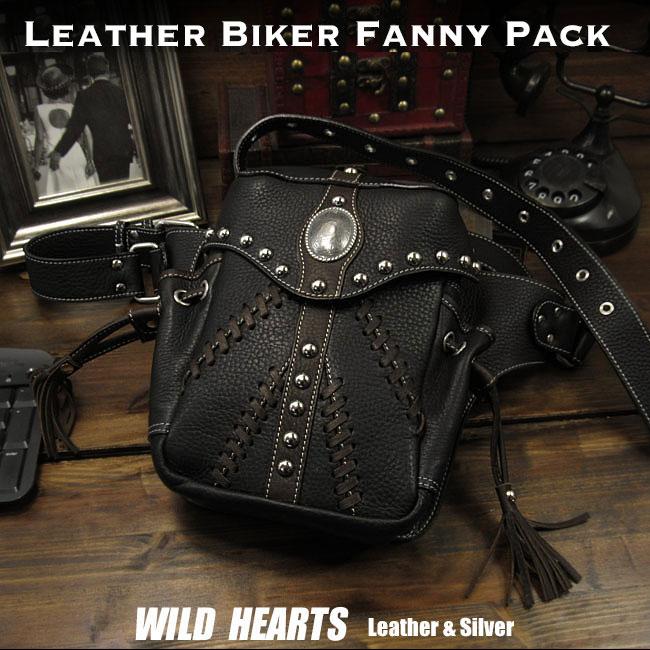メンズ ライダーズ バイカーズ ウエストバッグ ヒップバッグ レザー 本革 Men's Genuine Leather Motorcycle Hip Waist Bag Fanny PackWILD HEARTS Leather&Silver (ID wb0731b38)