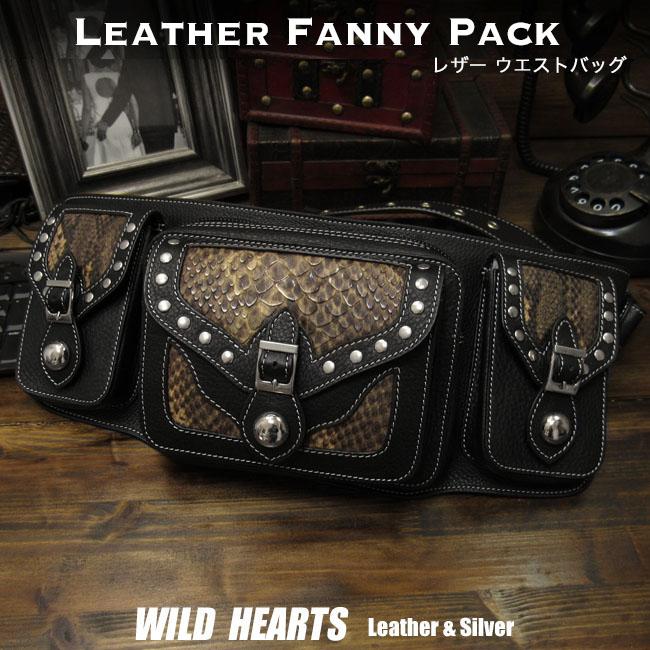 レザーウエストバッグ ヒップバッグ ファニーパック バイカーツーリング用バッグ 牛革 本革Unisex Fanny Pack Waist Bag Hip Bag Pack Pouch Python patternWILD HEARTS Leather&Silver(ID wb2307r87)