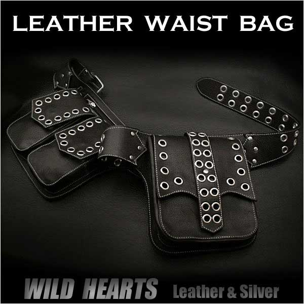 バイカーズ ウエストバッグ ヒップバッグ 本革/レザーMen's Genuine Biker Fanny Pack Waist Bag Hip Bag Pack Pouch Belt WILD HEARTS (ID wb0872r26)