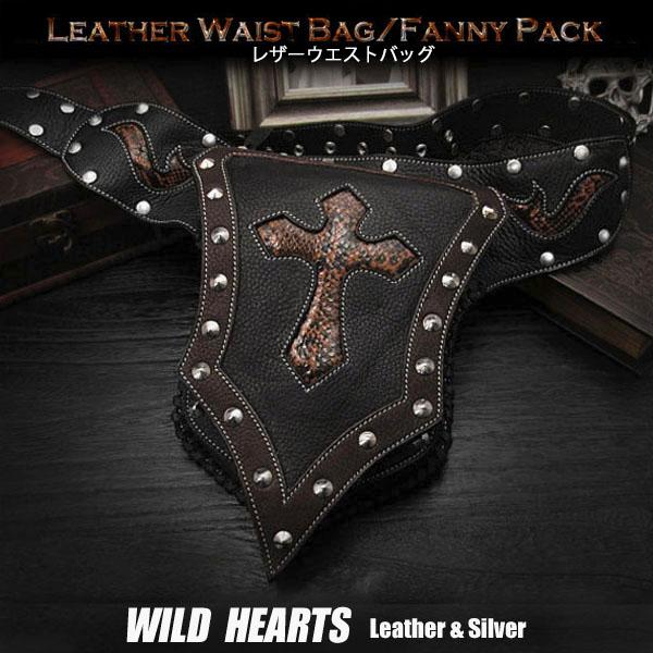 パンクスタイルのオリジナルデザイン ウエストバッグ/ヒップバッグ/本革/レザー/Men's Genuine Fanny Pack/Waist Bag WILD HEARTS leather & silver (ID wb0732b39)