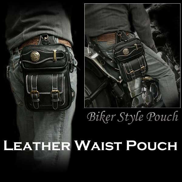 waist pouch 힙 백 웨스트 가방 가죽/레더/블랙/흑Men's Genuine Leather Waist Pouch/ Hip Bag/Pouch Belt : WILD HEARTS leather & silver