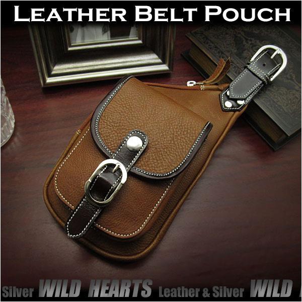 ウエストポーチ シザーバッグ ヒップバッグ 本革 レザー Genuine Leather Waist Pouch Belt pouch Purse Medicine Bag WILD HEARTS Leather&Silver (ID wp3435b36)