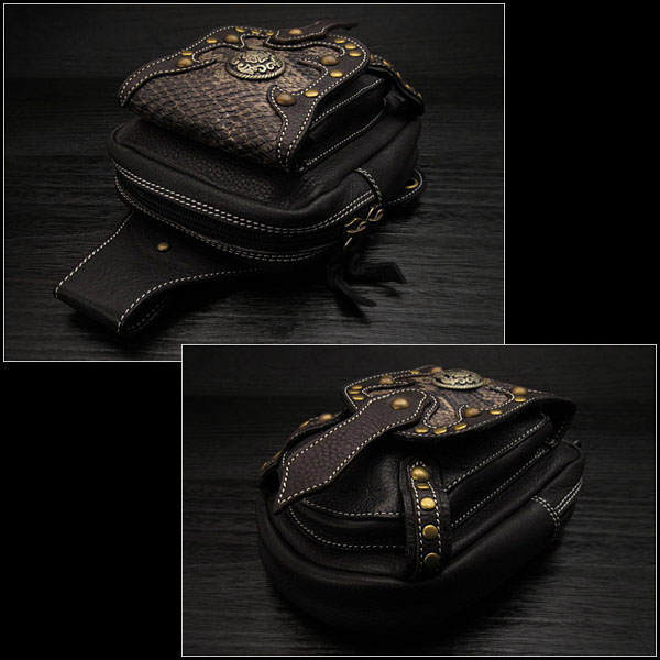 Genuine Cowhide Leather Waist Pouch/Hip Bag/Pouch Belt/Medicine Bag Python WILD HEARTS leather&silver(ID wp0874r44)