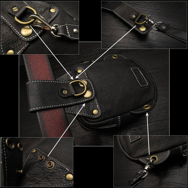 真正的牛皮 腰袋/ 臀包/ 袋皮帶/ 藥袋 蛇皮 Genuine Cowhide Leather Waist Pouch/Hip Bag/Pouch Belt/Medicine Bag Python WILD HEARTS leather&silver(ID wp0874r44)