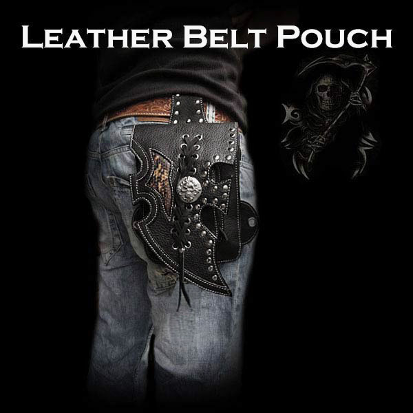 骑自行车的人摩托车皮腰袋包带髋关节囊骷髅 Motorcycle Biker Leather Waist Pouch Bag Belt Hip Pouch Skull WILD HEARTS (ID wp0876r42)