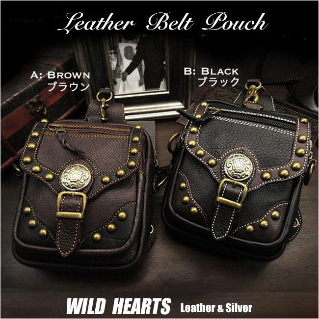 レザー ウエストポーチ メディスンバッグ ウエストバッグ ヒップバッグ 牛革Genuine Leather Waist Pouch Purse Hip Medicine Bag Travel bag Fanny packWILD HEARTS Leather&Silver (ID wp1278r53)