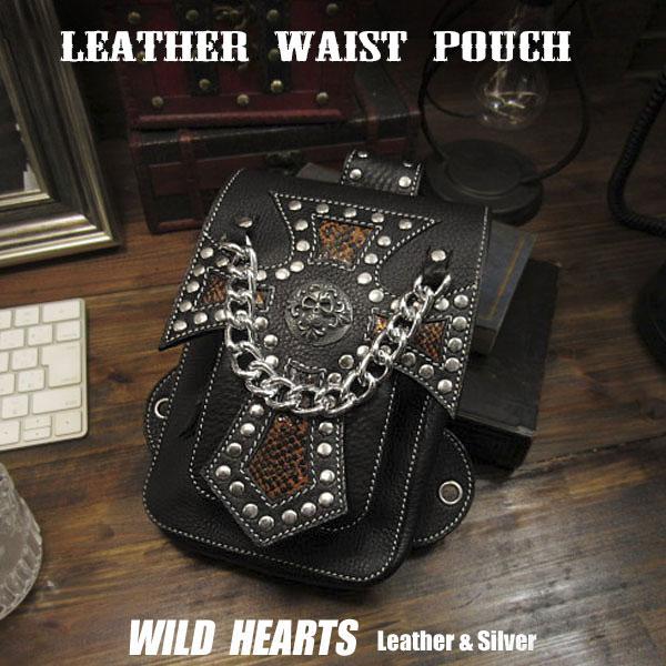 ウエストポーチ ヒップ/ベルト ポーチ シザーバッグ レザー/本革/牛革 ヒップバッグ Genuine Leather Biker Motorcycle Waist Belt Pouch Belt Loops Purse Hip Fanny pack Medicine Bag WILD HEARTS Leather&Silver(ID wp0838b18)