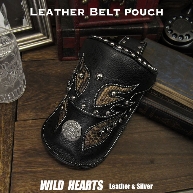 在庫処分 ウエストバッグ ヒップバッグ ウエストポーチ 本革 レザー Men's Genuine leather Waist Pouch Hip Pouch/ Purse/Bag Belt Travel Bag WILD HEARTS Leather&Silver (ID wp1474t46)