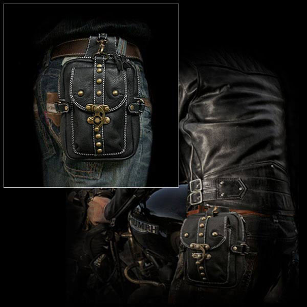 Genuine Leather Biker Waist/Belt Pouch Belt Loops Purse Hip Fanny pack Medicine Bag WILD HEARTS Leather&Silver (Item ID wp0579b12)