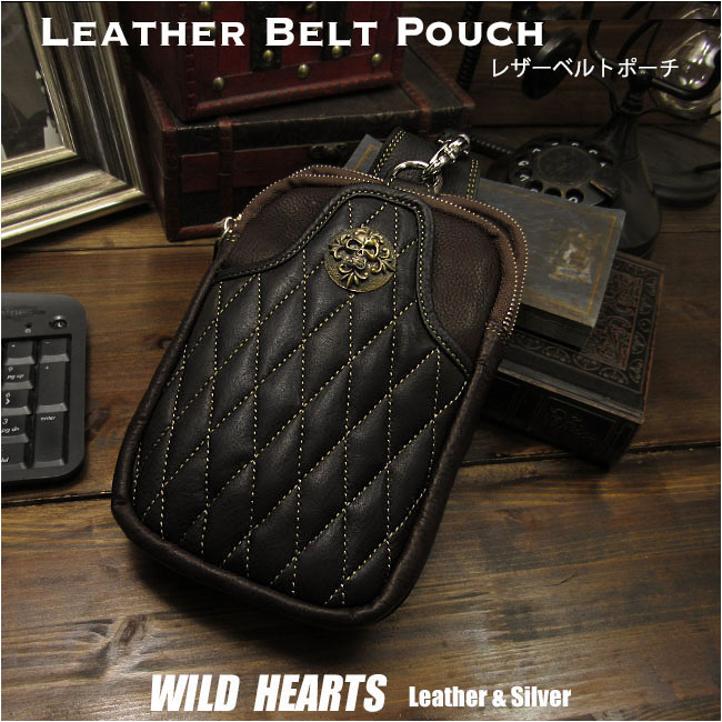 ウエストポーチ ヒップバッグ ウエストバッグ レザー/革 ブラック/黒×濃茶Genuine Leather Biker Waist Pouch/ Hip Bag/Pouch Belt/Black×Dark BrownWILD HEARTS Leather&Silver (ID wp3361r82)
