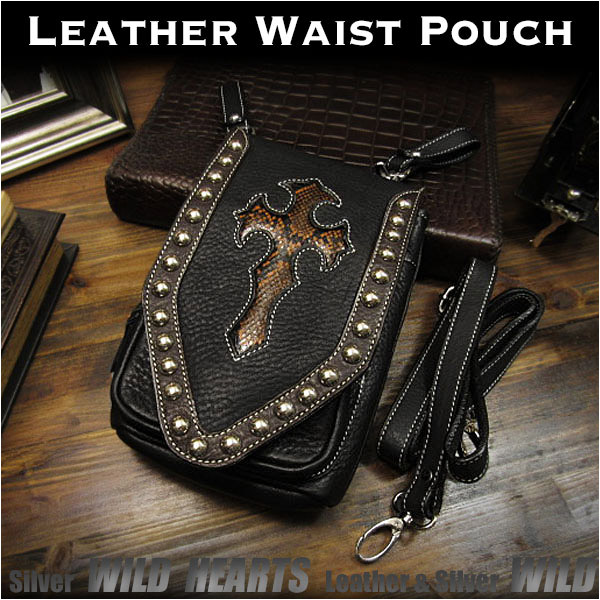 3WAY ベルトポーチ ウエストポーチ/シザーバッグ  ショルダーバッグ レザー 本革 Genuine Leather Waist Pouch Purse Belt Pouch Shoulder bag Travel Bag WILD HEARTS Leather&Silver(ID wp0854r58)