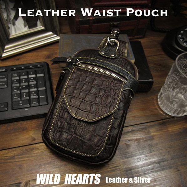 ウエストポーチ ヒップバッグ ウエストバッグ クロコダイル型押 レザー/革 ダークブラウン Crocodile embossed Leather Biker Waist Pouch Pouch Belt Dark Brown WILD HEARTS Leather&Silver (ID wp3875r82)