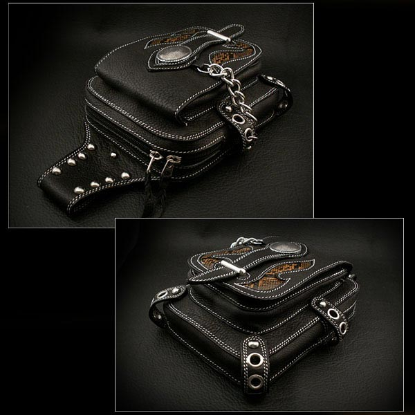 e7785763a24e Custom Handmade Genuine/Cow Leather Waist pouch Belt Loop Pouch Hip Pouch  Medicine Bag WILD HEARTS Leather&Silver (ID wwp0834r2)