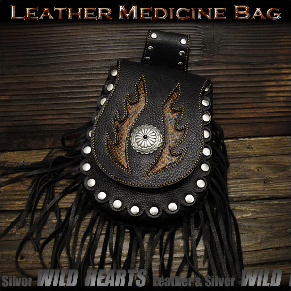メディスンバッグ ウエストポーチ/バッグ フリンジ付き レザー/本革 パイソン High Quality Genuine Cowhide Leather Medicine Bag Hip Bag Pack Pouch BeltWILD HEARTS leather&silver(ID wp0748r59)