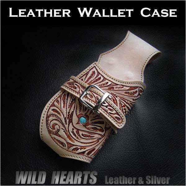 ウォレットケース ウォレットホルダー カービング レザー/サドルレザー/牛革 ナチュラル ハンドメイドGenuine Leather Biker Wallet Holster/case Hand Carved LeatherWILD HEARTS leather&Silver (ID wc3104r25)
