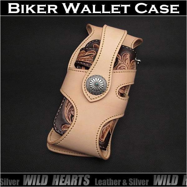 ライダース/バイカーズ ウォレットケース ウォレットホルダー サドルレザー /牛革 タン/ナチュラルGenuine Leather Wallet Holster Biker Wallet Case Handmade Tan/Natural Leather WILD HEARTS Leather & Silver (ID lc3146r74)