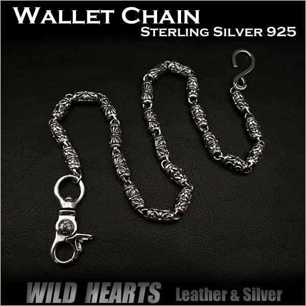 シルバー925 ウォレットチェーン クロスフローリー メンズ シルバーアクセサリー おしゃれ sv925 ステリングシルバーSterling Silver 925 Chain Key Chain Biker Trucker Jean CrossWILD HEARTS Leather&Silver(ID lwc08k15)