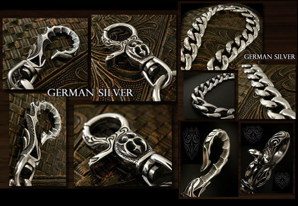 German Silver Jeans wallet key chain  WILD HEARTS Leather&Silver (ID wc1817r6)
