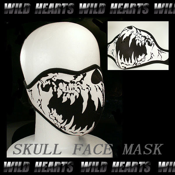 Face Mask/Skull Mask/Winter Warmer Half Face Mask WILD HEARTS Leather&Silver (ID fm0690t6)