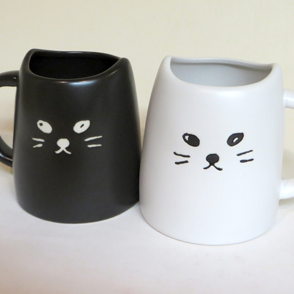 Pair Mug Fs3gm Of A Black Cat And The White
