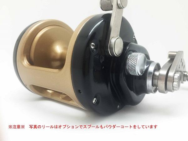 リール カスタム パウダーコート 粉体塗装 2コート ブラック ゴールド(フレーム、RSプレート、LSカバー)の基本料金ハンドル、スプール、ピトン他小物も可能
