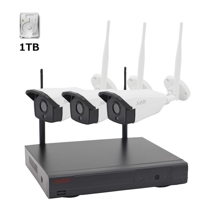 防犯カメラセット 4チャンネル・増設可能 レコーダー付き 200万画素 H.265ビデオ圧縮 監視カメラ (3台防水カメラ +1台録画機 +1TB内藏)