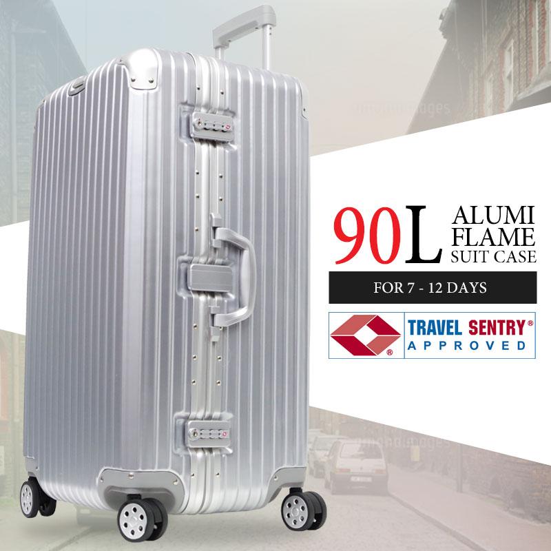 送料無料 大型 90L アルミフレーム スーツケース 送料無料 キャリーケース バックホルダー搭載 シルバー TSAロック搭載 シルバー スーツケース【RM-02】, atmos-tokyo:d580d240 --- sunward.msk.ru