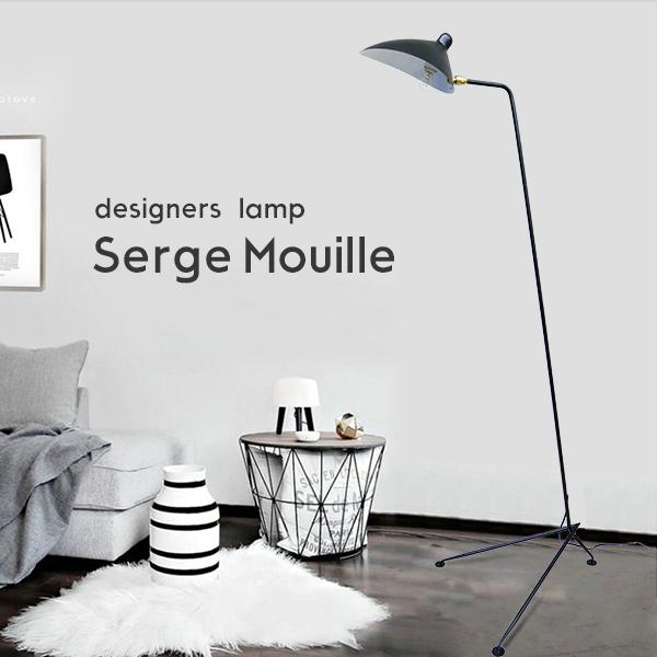 送料無料 Serge Mouille セルジュ・ムーユ デザイナーズ照明 セルジュムーユ 三脚 フロアライト照明 北欧デンマーク 男前照明 黒 08
