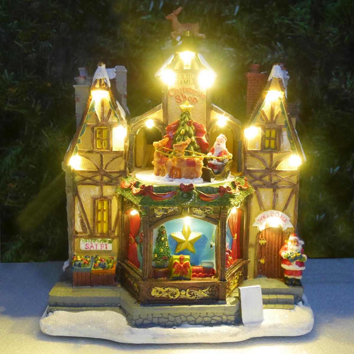 クリスマス イルミネーション ジオラマ オールドビレッジ クリスマスショップ プレゼント トナカイ 回るサンタ ツリー 照明 JM-03
