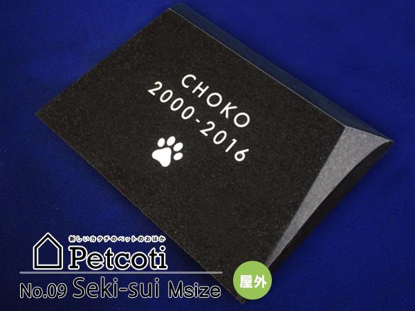 ペットのおはか お墓 石錐 黒 Mサイズ インドKUS 屋外 ペットコティ Petcoti 名入れ 刻印 ペット 供養 犬 猫 小動物 送料無料