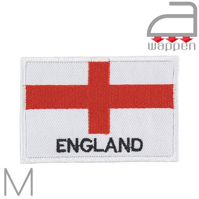 アイロンワッペン//イングランド国旗 ENGLAND文字入り (刺繍 フラッグ)