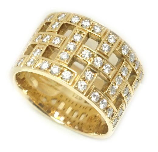 【送料無料】K18 メレ ダイヤモンド リング D0.71ct 750 ゴールド 12号 18金【質屋出店】【中古】