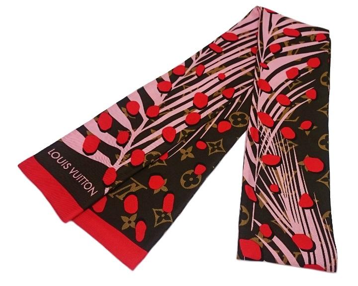 【美品】ルイヴィトン LOUIS VUITTON モノグラム バンドー ジャングル スカーフ シルク100% M71118【中古】