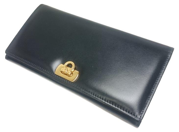 フェラガモ Ferragamo ガンチーニ レザー 二つ折り 長財布 ブラック 黒 222035【質屋出店】【中古】
