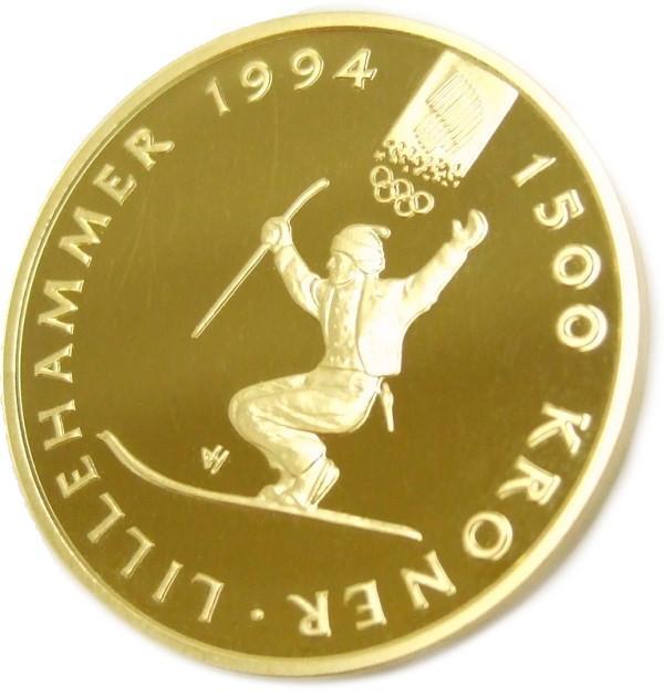 ノルウェー リレハンメル オリンピック 1500 クローネ K22 金貨 1994年 記念硬貨 貨幣【質屋出店】【中古】