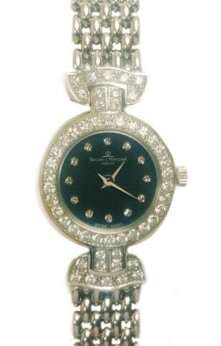 ボーム&メルシエ BAUME & MERCIER ダイヤ ベゼル 12P K18WG 腕時計 レディース ブラック 950 16687【質屋出店】【中古】