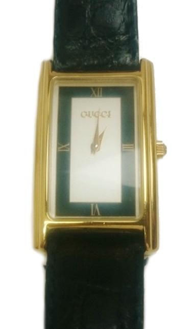 グッチ GUCCI レクタンギュラー GP レザー クォーツ 腕時計 レディース メンズ 2600M【質屋出店】【中古】