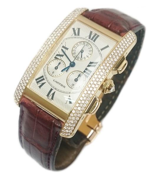 【正規OH済】カルティエ Cartier タンクアメリカン LM クロノリフレックス 腕時計 メンズ 18k YG クォーツ 2341【質屋出店】【中古】