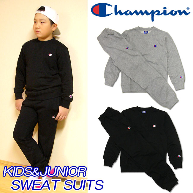 3f58ac1f477  champion  Arrival at the champion  kids   youth  sweat shirt top and  bottom set 100-160cm trainer suit setup   crew shirt   underwear   back  terry   sweat ...