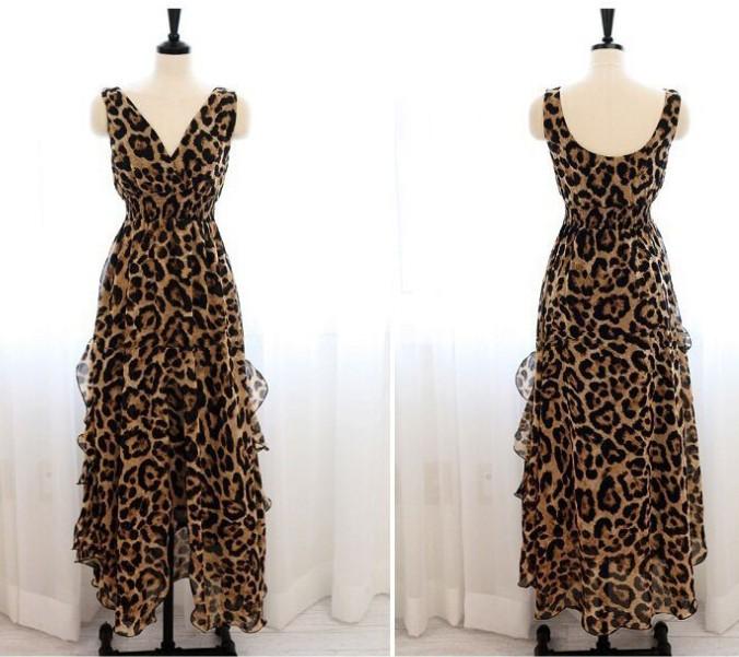 e401cac6c847 Large Maxi resort one piece summer Leopard pattern Leopard Maxi resort vamp summer  one-piece dress sleeveless Maxi dress wedding evening dress chiffon Beach  ...