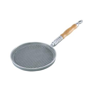 アルミイモノ 丸型 木柄 ステーキパン 24cm【ステーキパン】【アルミ鋳物】【木柄】【丸型】【業務用】