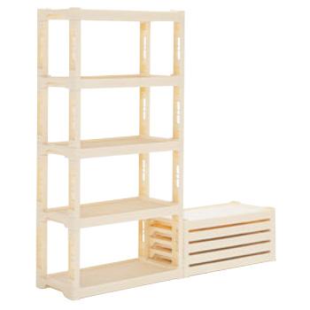 サンコー プラスチック棚-Nセット クリーム(棚板5枚・脚16本)【代引き不可】【棚】