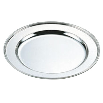 H 洋白 丸肉皿 14インチ 三種メッキ【シルバートレー】【お盆】【トレイ】