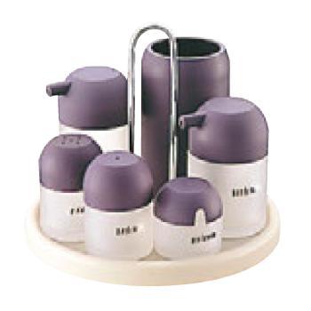 ■お得な10個セット■マッシュルーム カスターセット 7PCS M-5208 紫■お得な10個セット■【代引き不可】【調味料入れ】